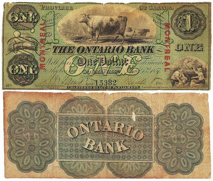 billet de 1 $ de l'Ontario Bank
