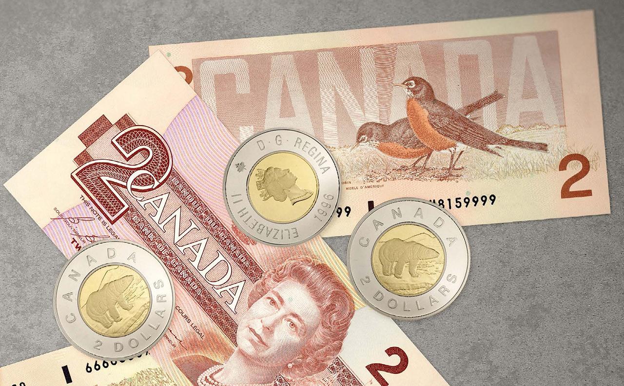 pièces et billets de 2 $ du Canada