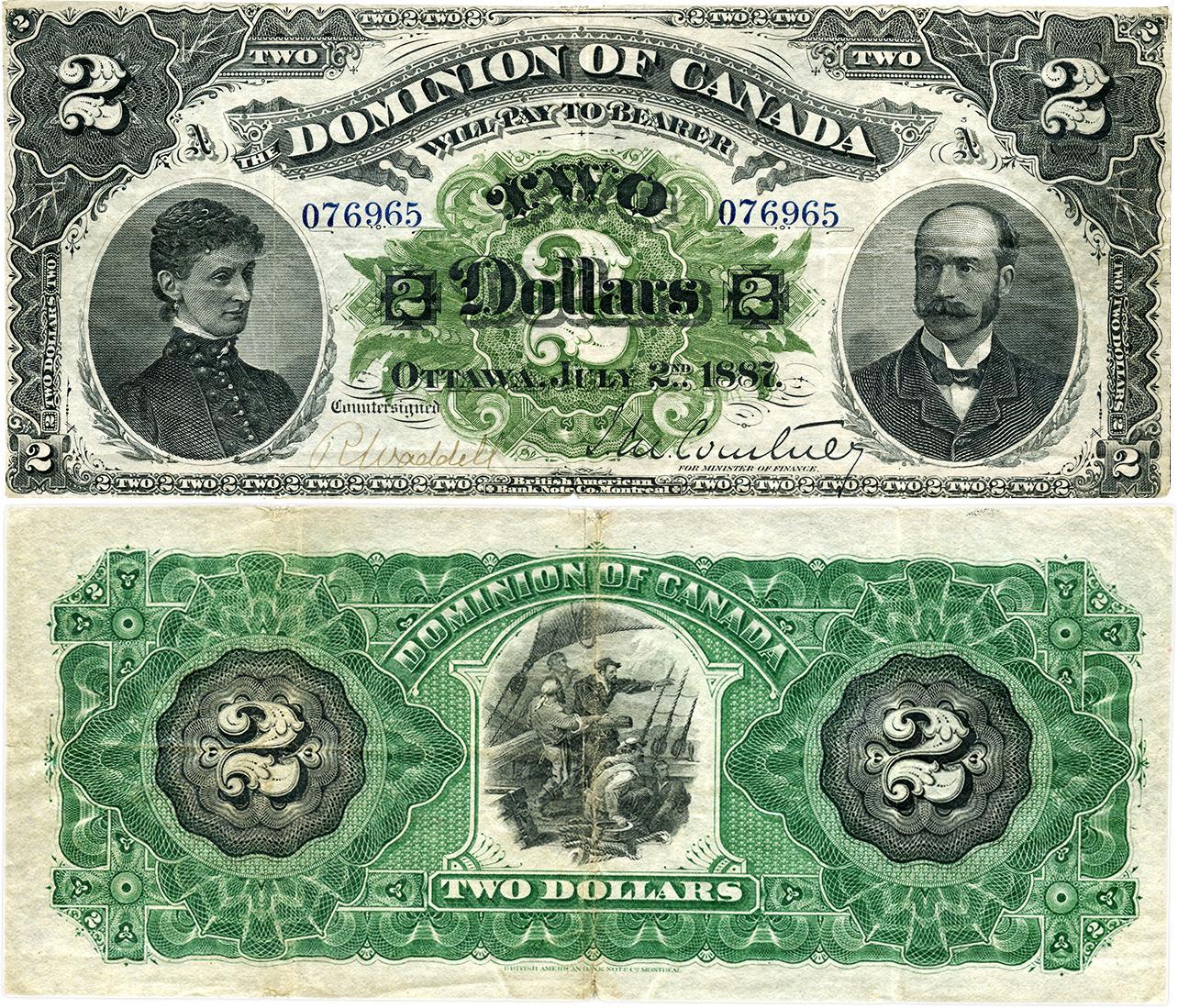 billet canadien de deux dollars, fin du XIXe siècle