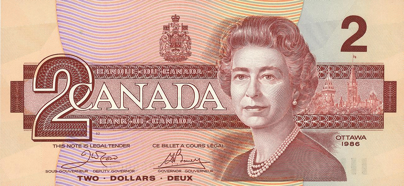 billet canadien de 2 $, recto, 1986