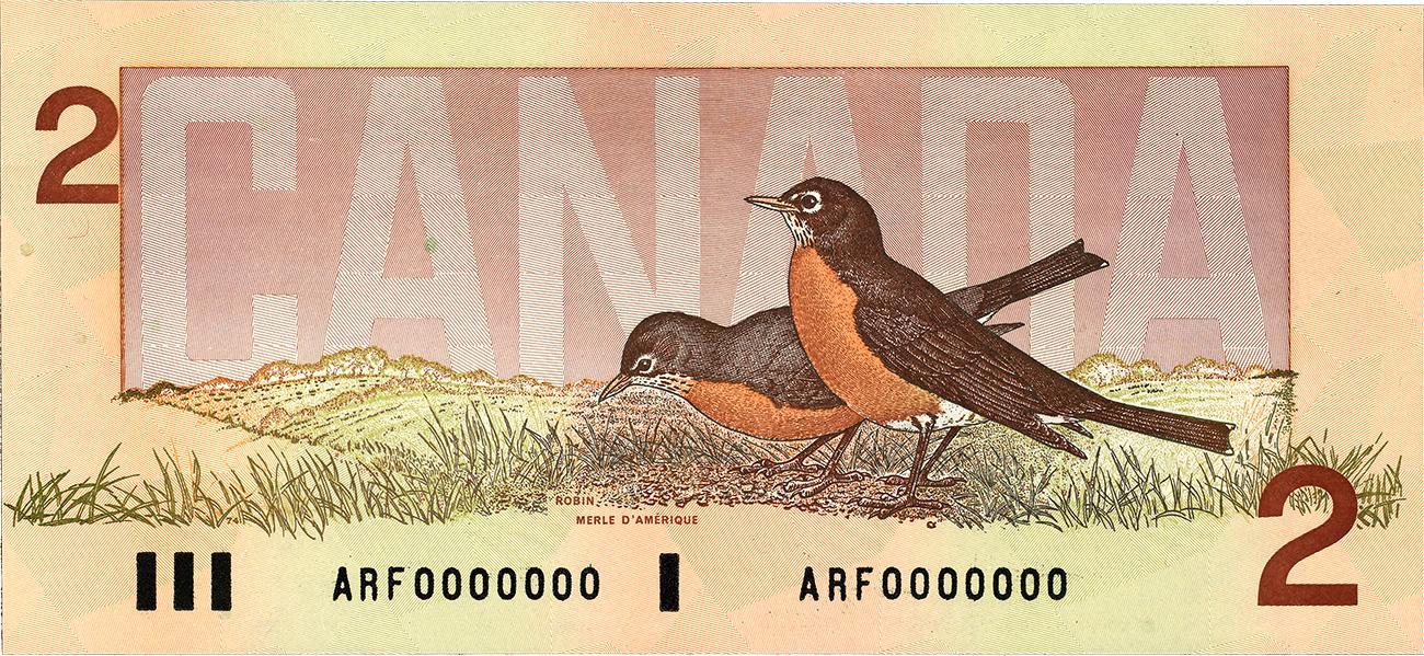 billet de 2 $ canadien et ses deux merles d'Amérique, 1986