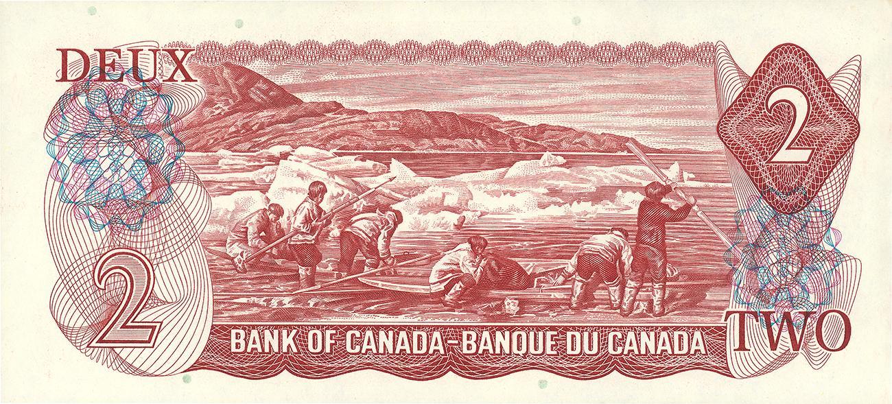 billet de 2 $ canadien, verso, 1974