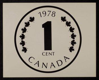 imprimé du motif d'une pièce avec le chiffre « 1 » au centre et le mot « CANADA » dans le bas