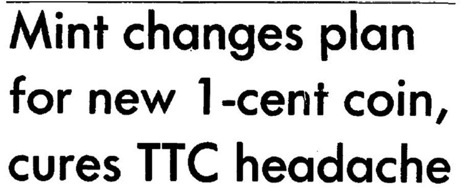 manchette indiquant que la Monnaie royale canadienne a changé d'idée