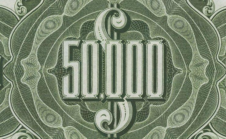 coupure de 50 000 $ d'un ancien billet de banque