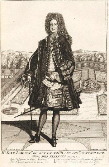gravure du XVIIIe siècle de Law, debout sur une terrasse