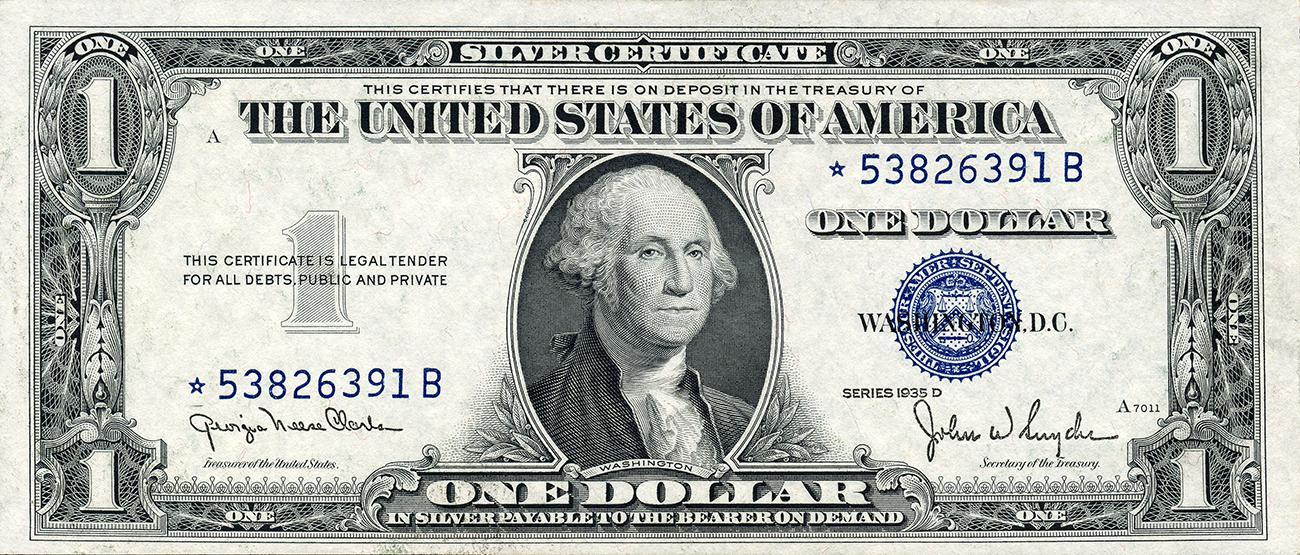 billet américain de 1 $ émis en 1935
