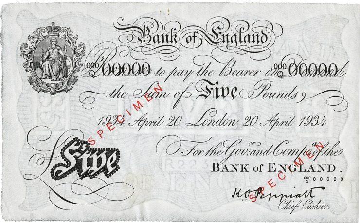 billet de 5 livres sterling émis en 1934