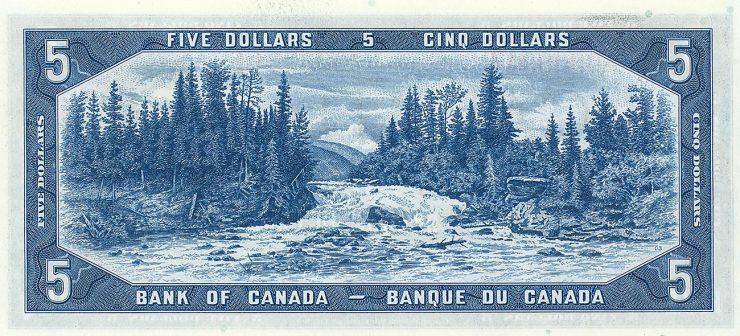 billet de 5 $ illustré d'une rivière, de chutes, d'une forêt et de montagnes