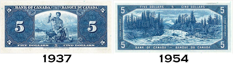 un billet canadien de 5 dollars de 1937 et de 1954