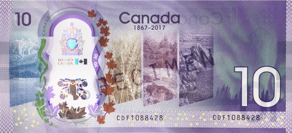 verso du billet commémoratif de 10 $ de 2017