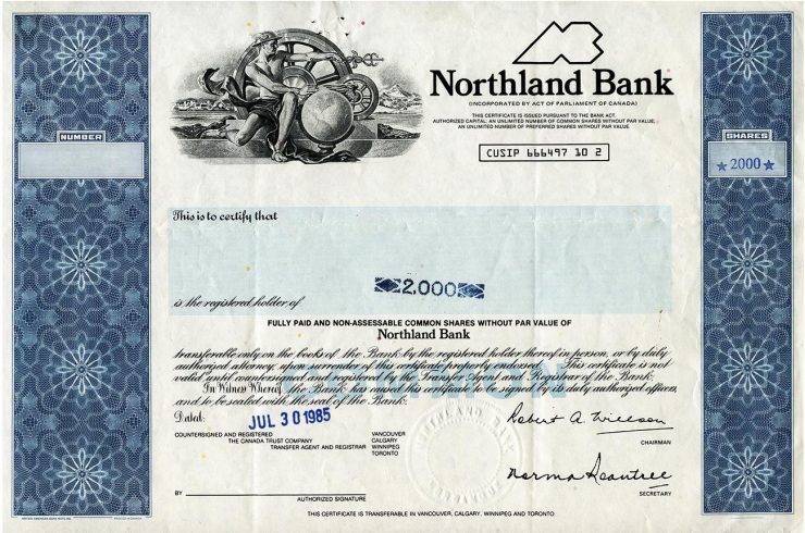 certificat d'actions d'une banque