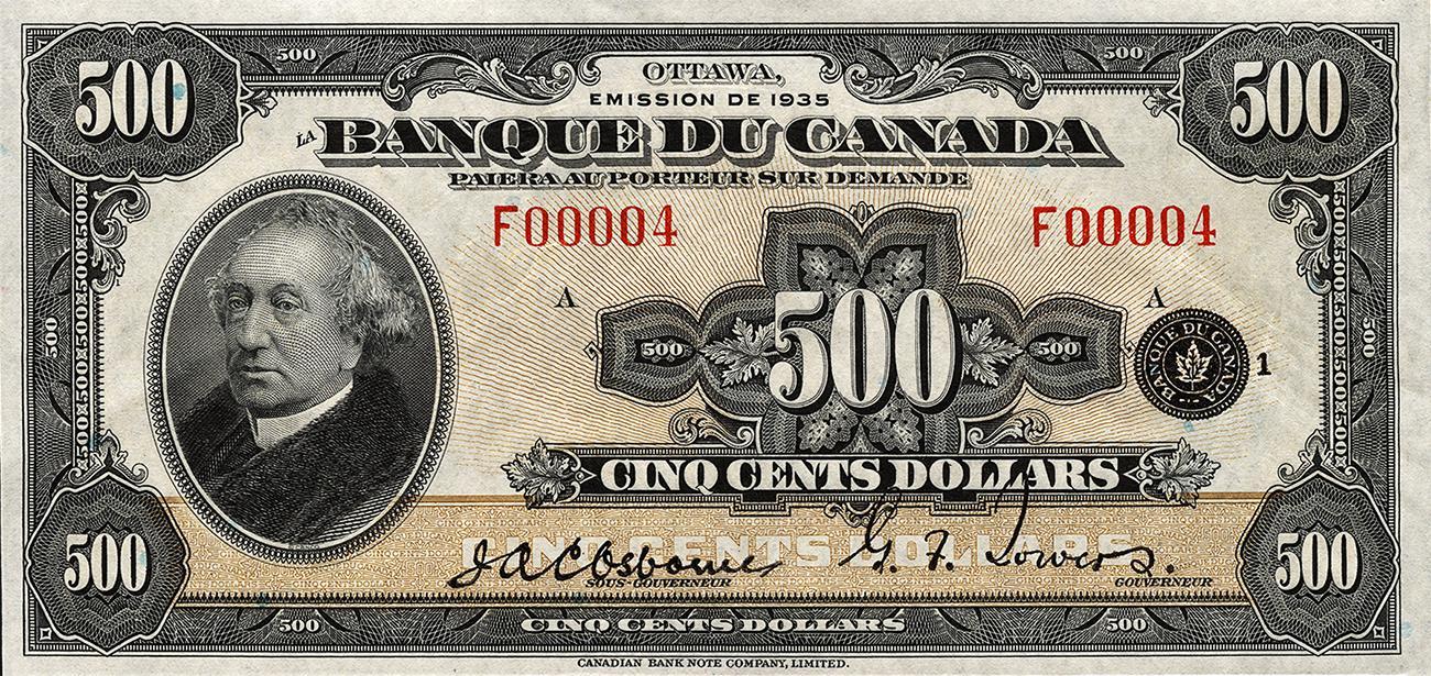 ancien billet de banque entièrement en français à l'effigie de sir John A. Macdonald