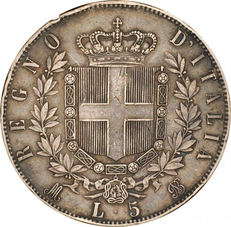 ancienne pièce de monnaie italienne ornée de la gravure d'un bouclier, d'une couronne et de branches de laurier
