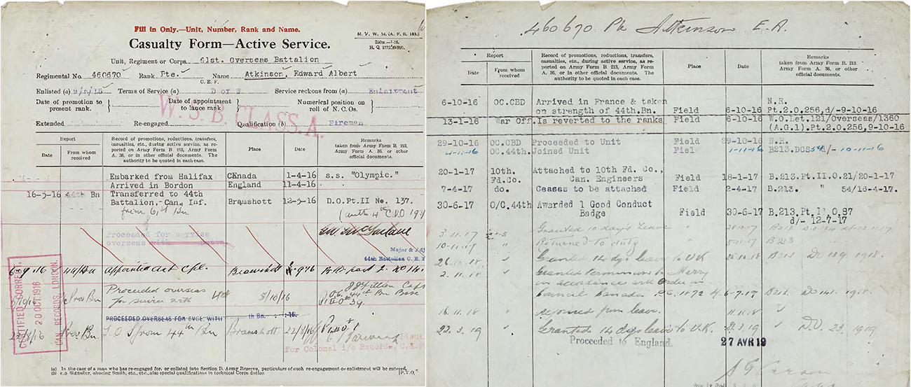 extrait du dossier de service du soldat Atkinson tiré de la collection de Bibliothèque et Archives Canada