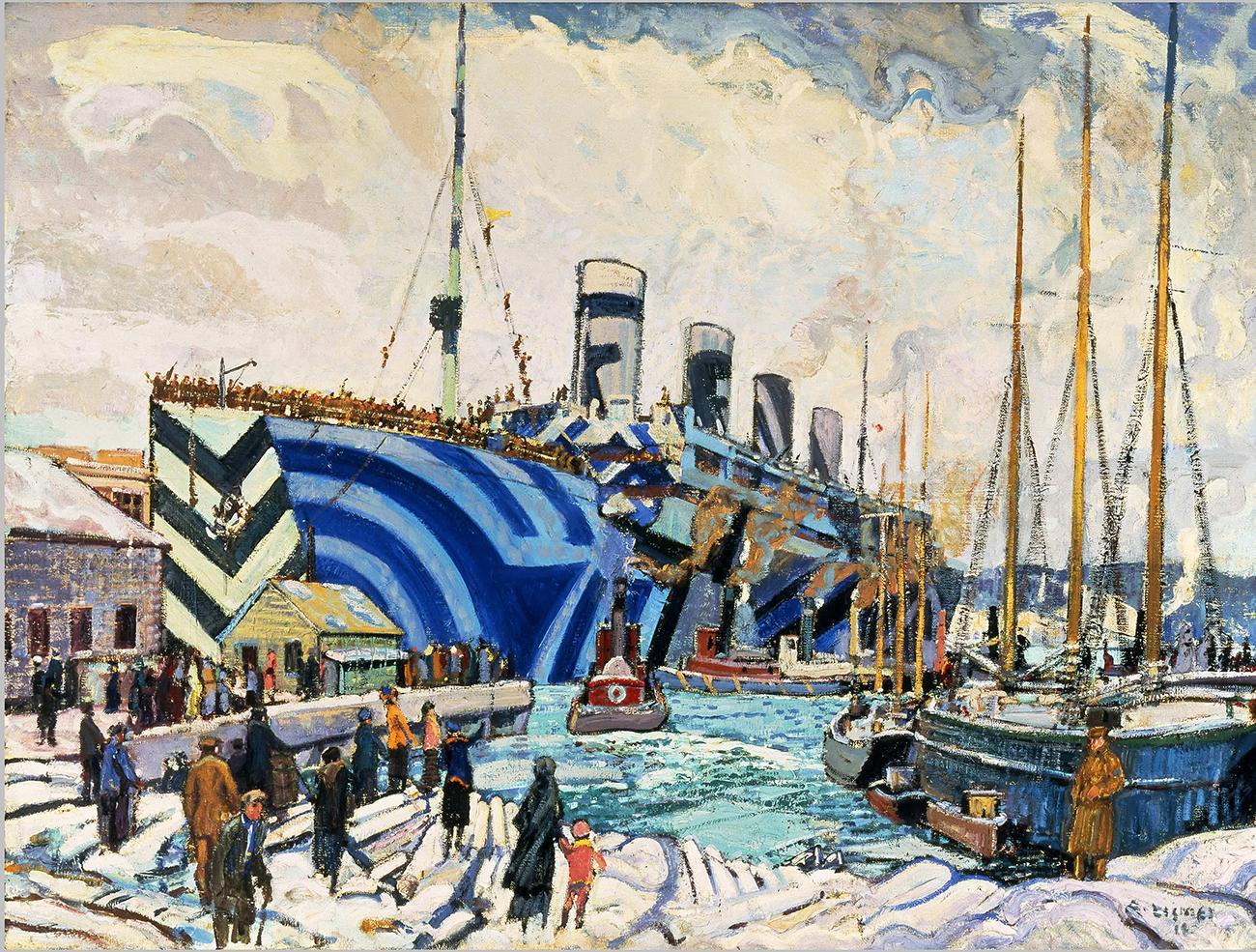 peinture d'un navire de transport de troupes dans un port