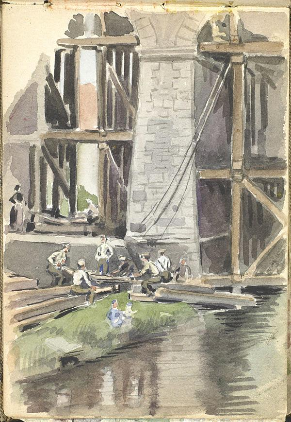 aquarelle d'hommes réparant un pont