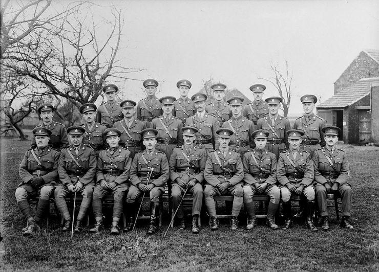 vingt et un officiers canadiens de la Première Guerre mondiale se font photographier dans un champ