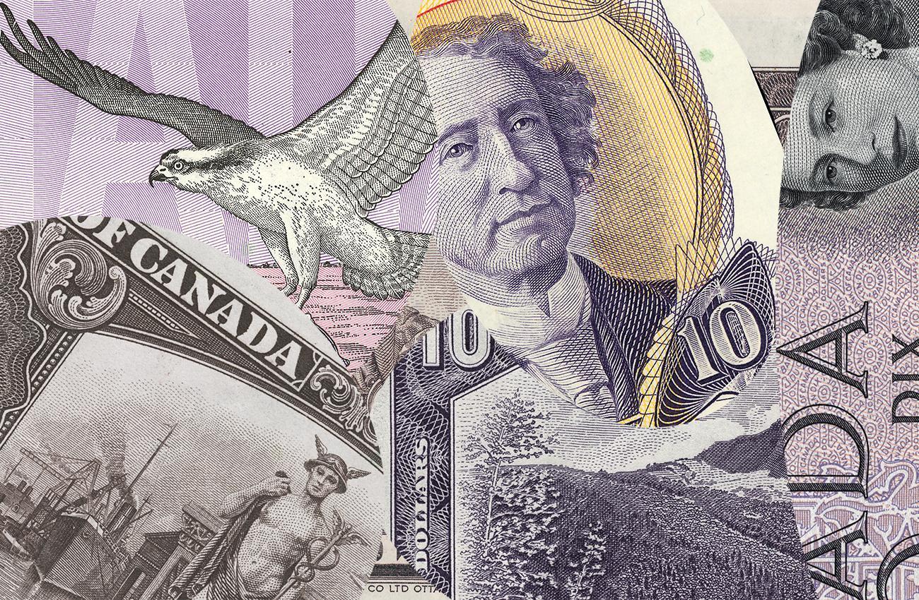 mosaïque de billets canadiens de 10 $