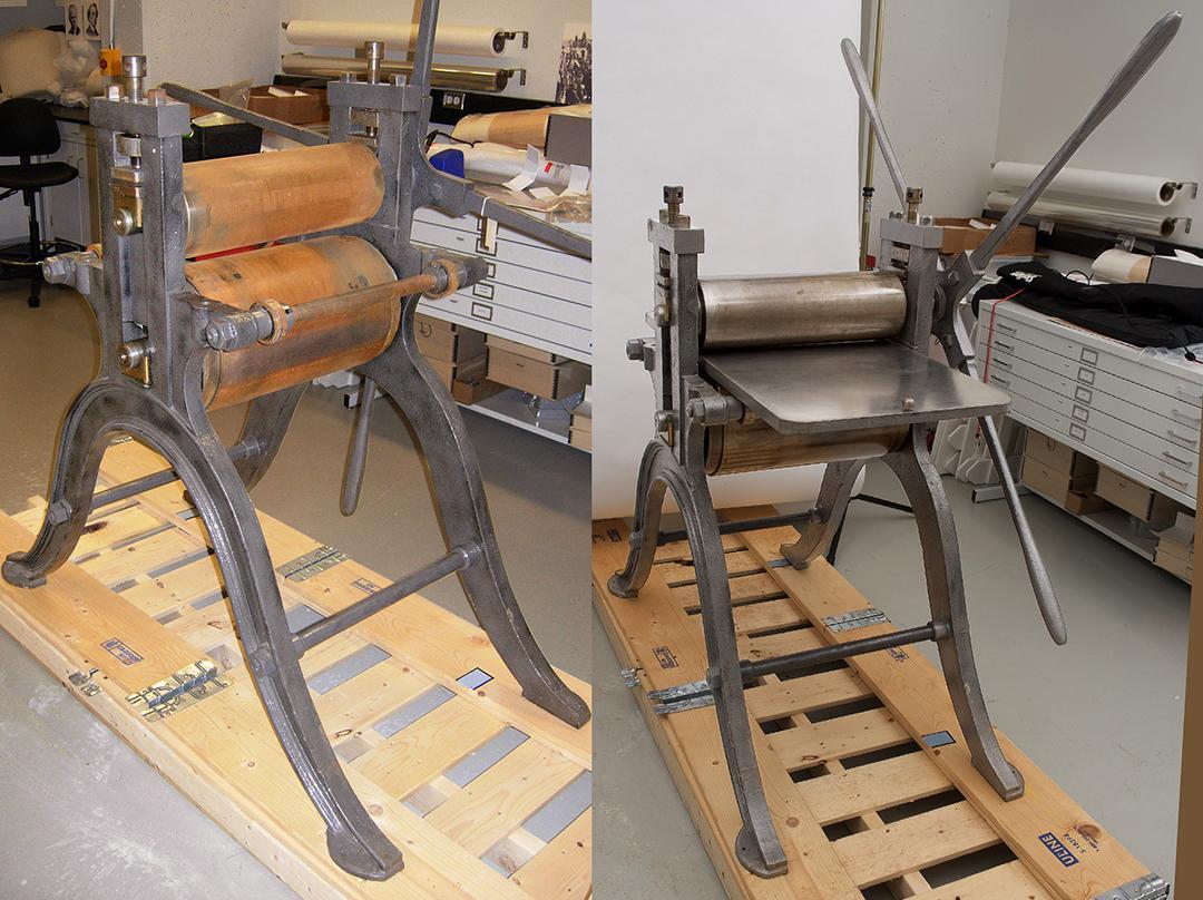 image d'une vieille presse avec des cylindres rouillés suivie d'une image de la presse restaurée