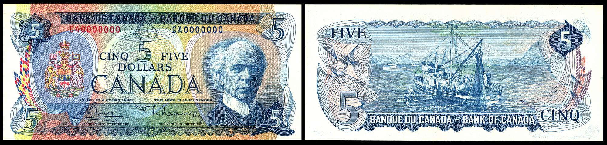 billet de cinq dollars au verso duquel figure une scène de pêche