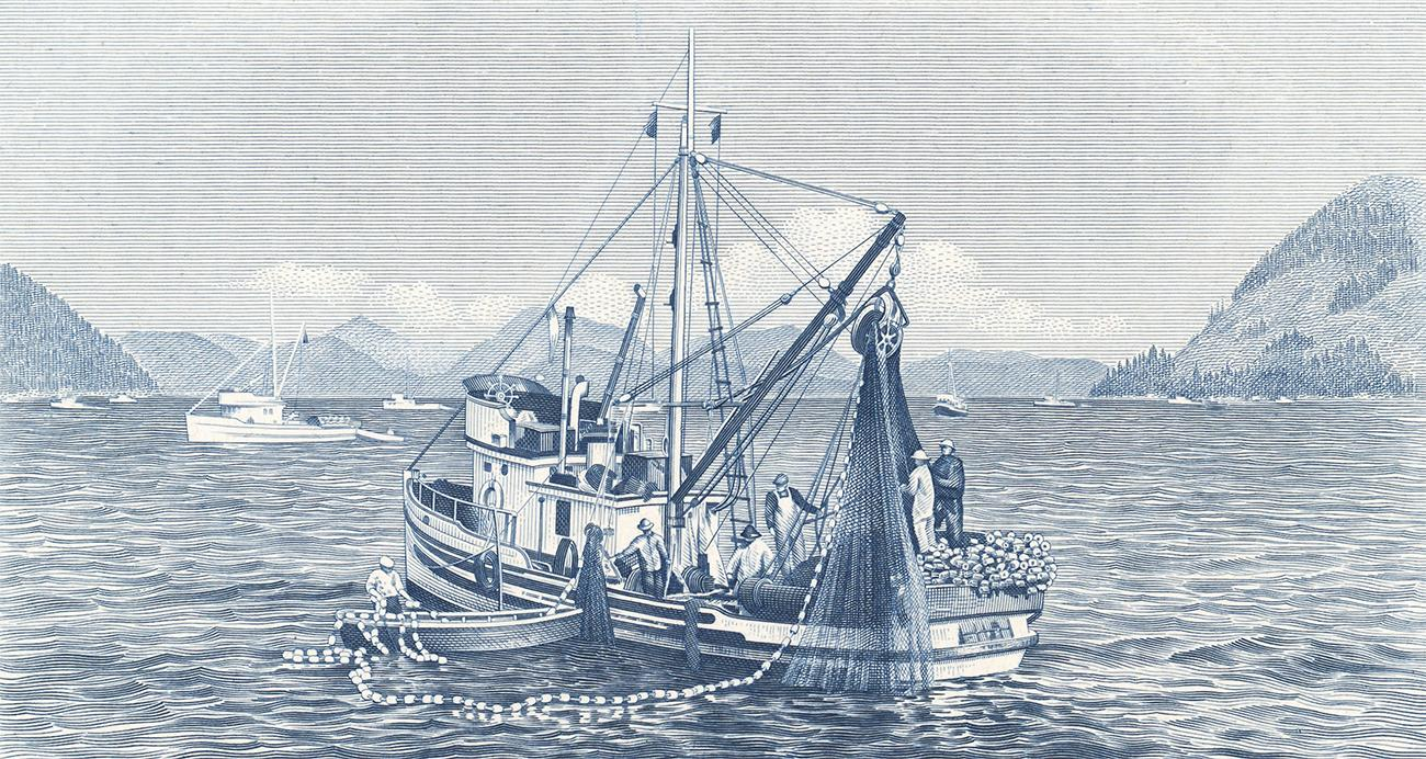 épreuve d'essai de l'image du bateau de pêche qui figure sur le billet de cinq dollars