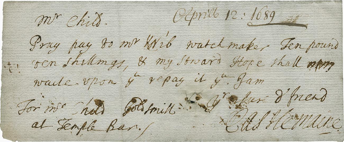 note manuscrite indiquant la valeur de l'or entreposé