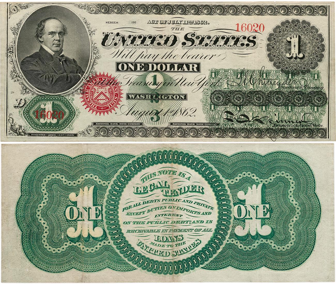 verso d'un vieux billet américain de 1 dollar avec des motifs verts et des directives sur son utilisation