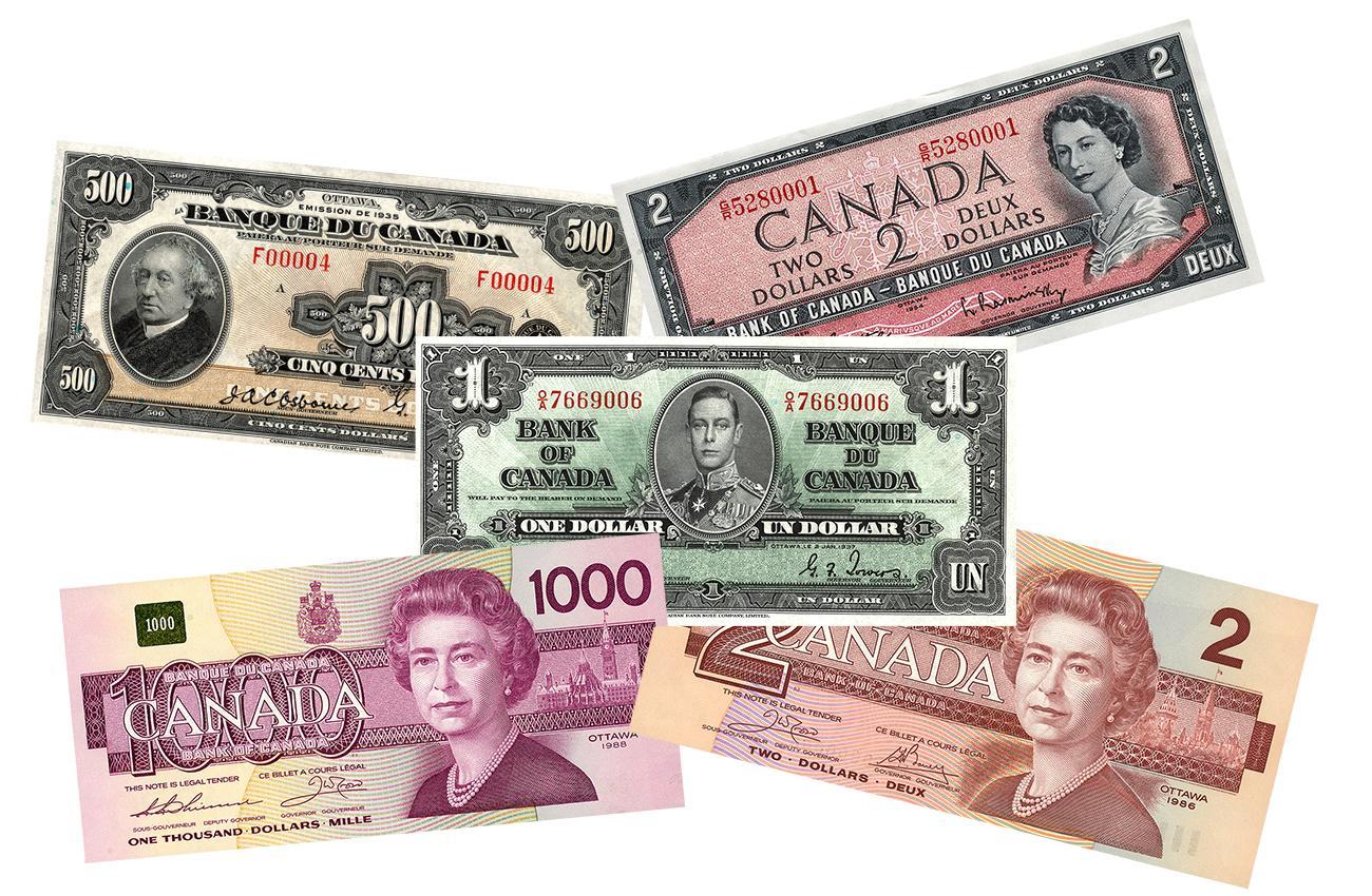 500 dollars, 1935 / 1 dollar, 1937 / 2 dollars, 1954 / 1000 dollars, 1986