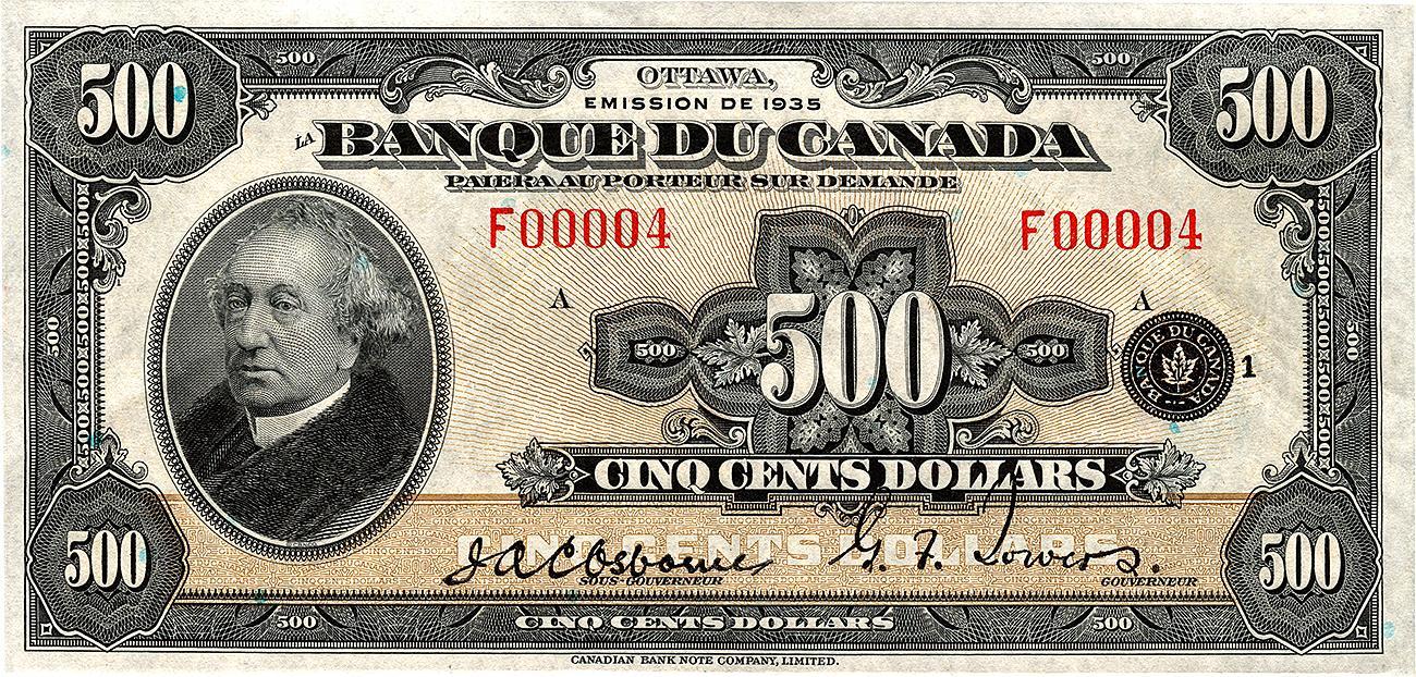 billet de banque brun clair en français orné du portrait de sir John A. Macdonald