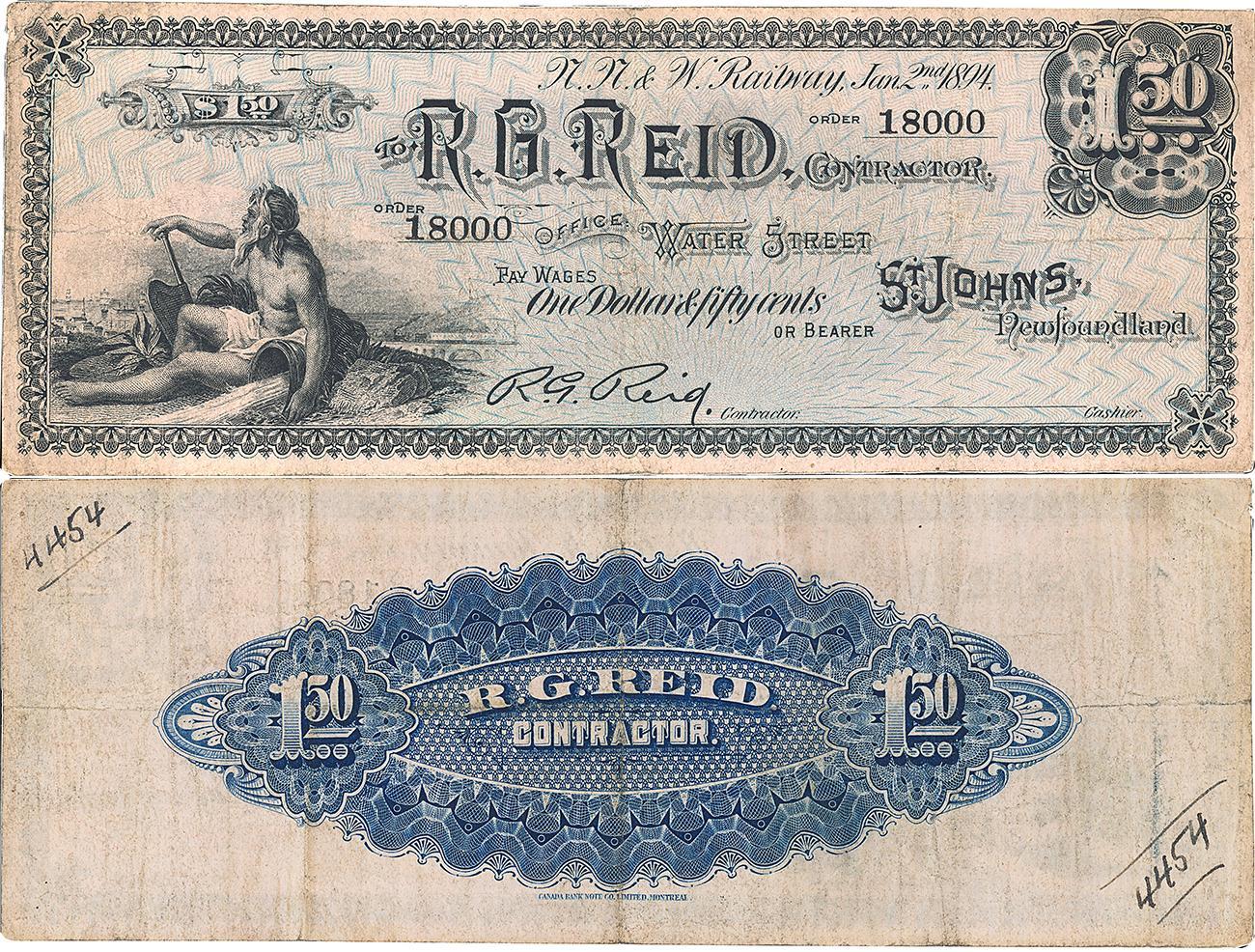 vieux bon orné de l'inscription « R. G. Reid », d'une allégorie symbolisant le travail et d'un motif bleu et noir