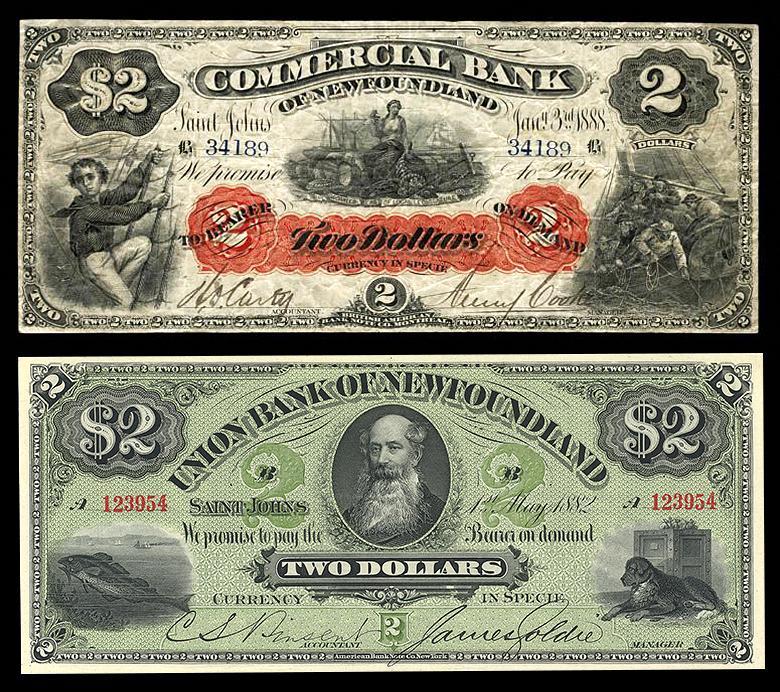 vieux billets de banque montrant un homme barbu en habits du 19e siècle, un chien, un matelot et une morue
