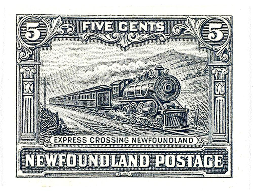 vieux timbre de Terre-Neuve illustré d'un train à vapeur