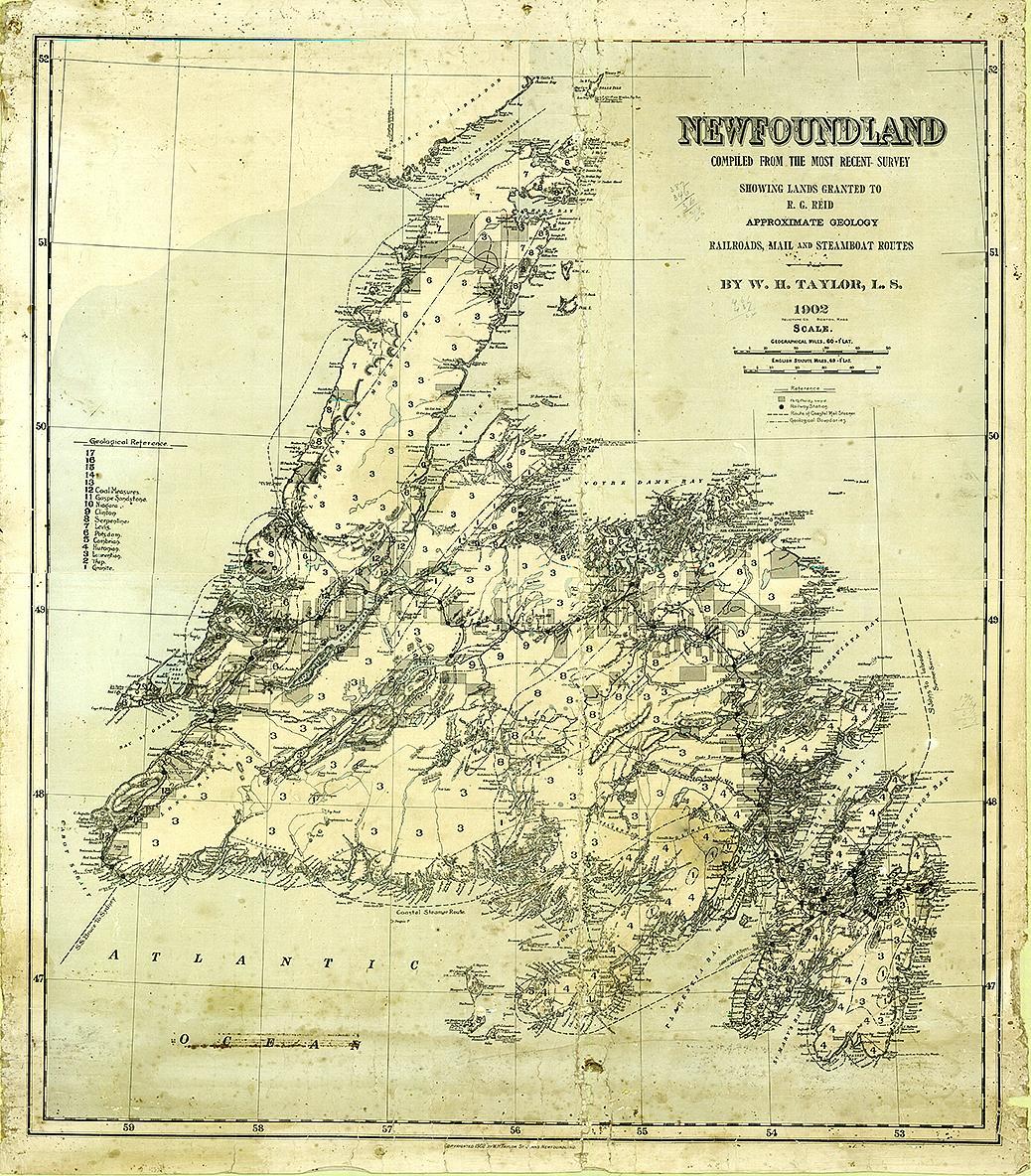 carte antique de Terre-Neuve tracée à la main