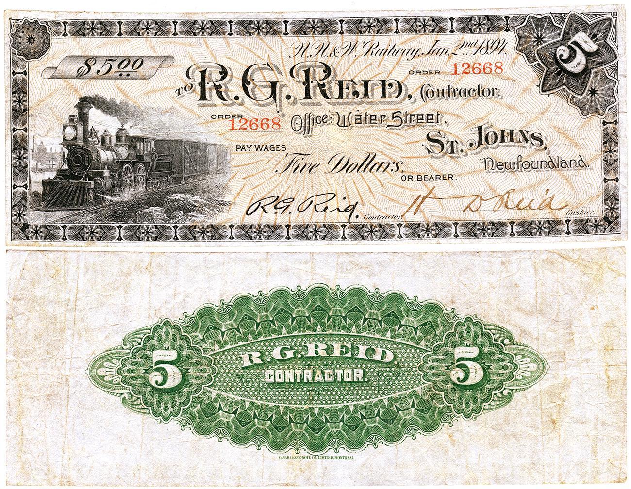 vieux bon de commerce orné de l'image d'une locomotive à vapeur au recto et d'un motif vert au verso