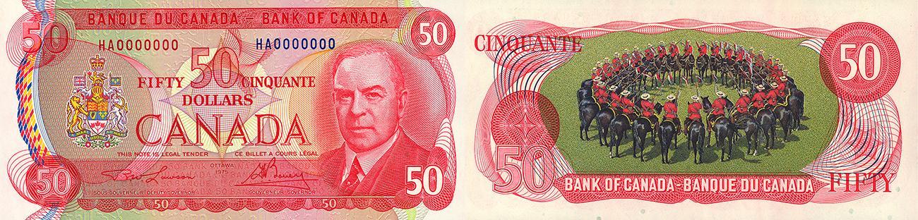 Billet de banque rouge vif dont le verso est illustré d'un cercle de policiers à cheval