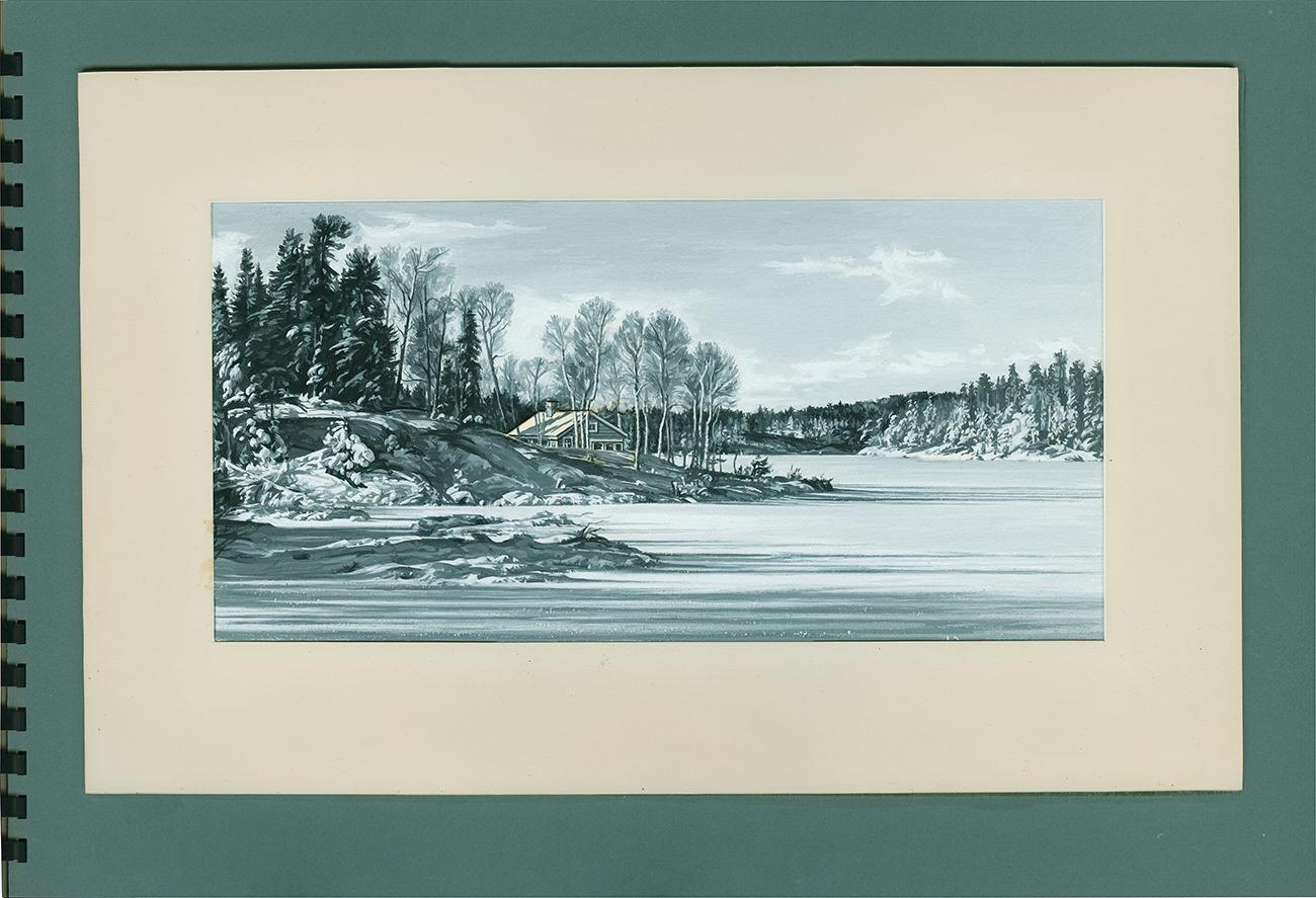 Peinture en noir et blanc représentant des arbres et un chalet au bord d'un lac gelé