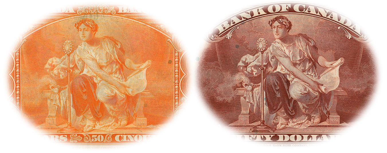 Deux reproductions de la même image, l'une floue en orange (à gauche) et l'autre nette en brun (à droite)