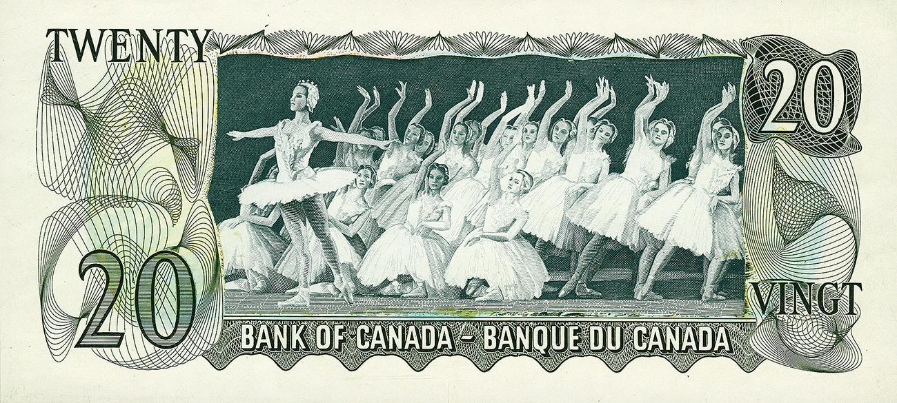Gravure sur un billet de 20 $ de ballerines en spectacle
