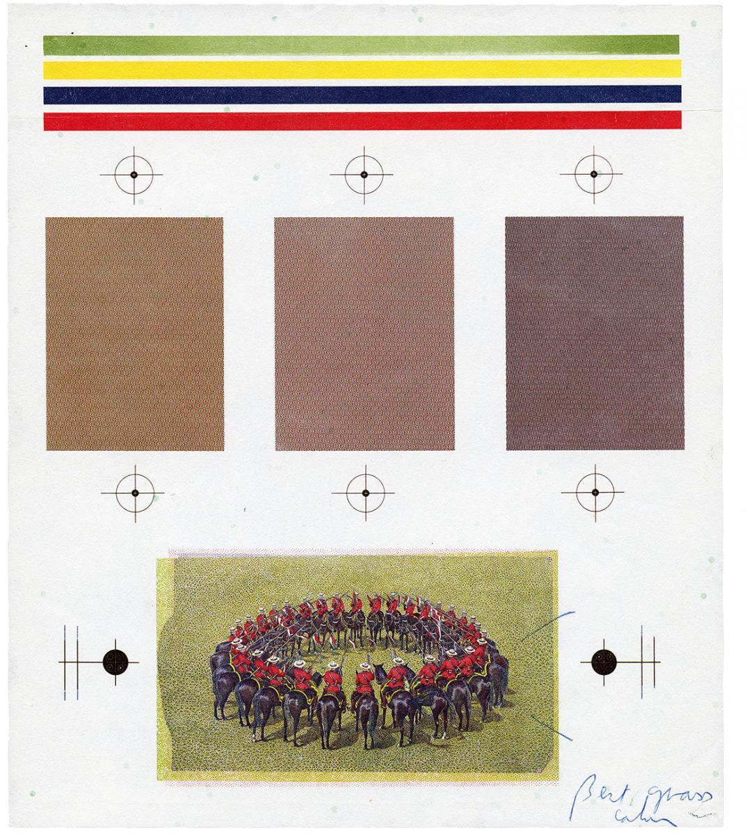 Page comportant des surfaces de couleur et épreuve en couleurs d'un cercle de policiers à cheval