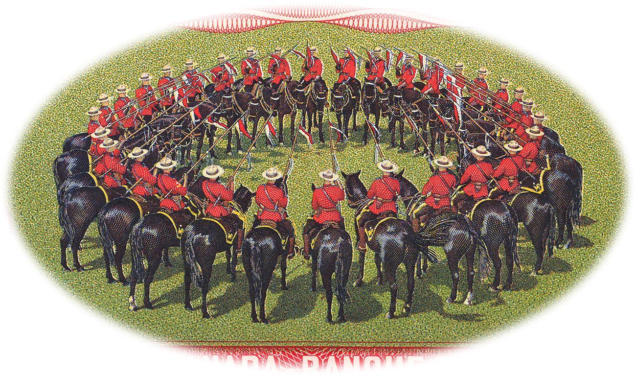 Vignette d'un cercle de policiers à cheval ornant le verso d'un billet de banque