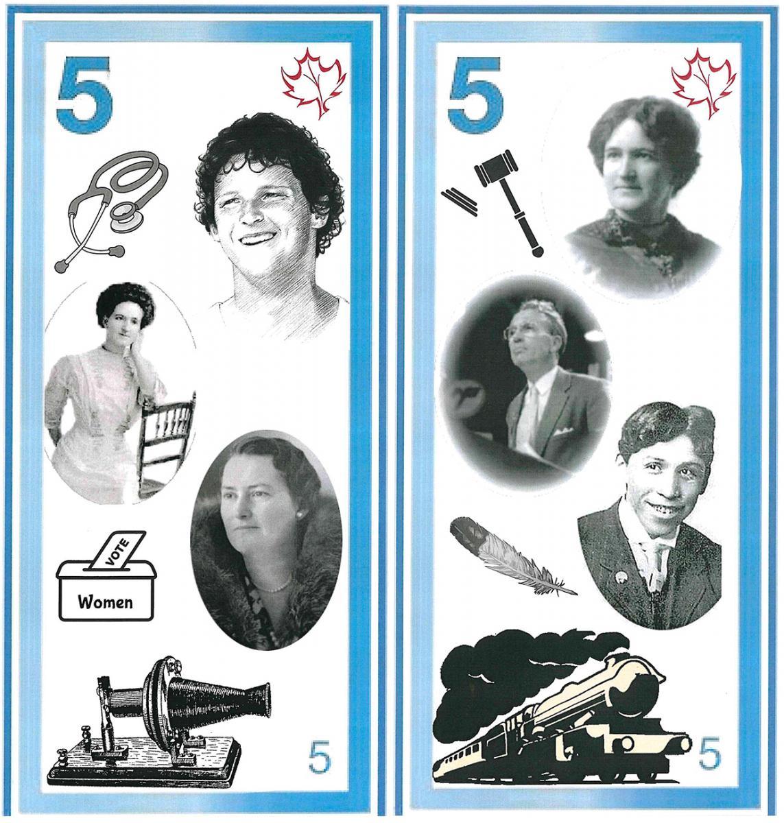 illustration, modèle de billet de 5dollars orné d'images et de dessins en noir et blanc