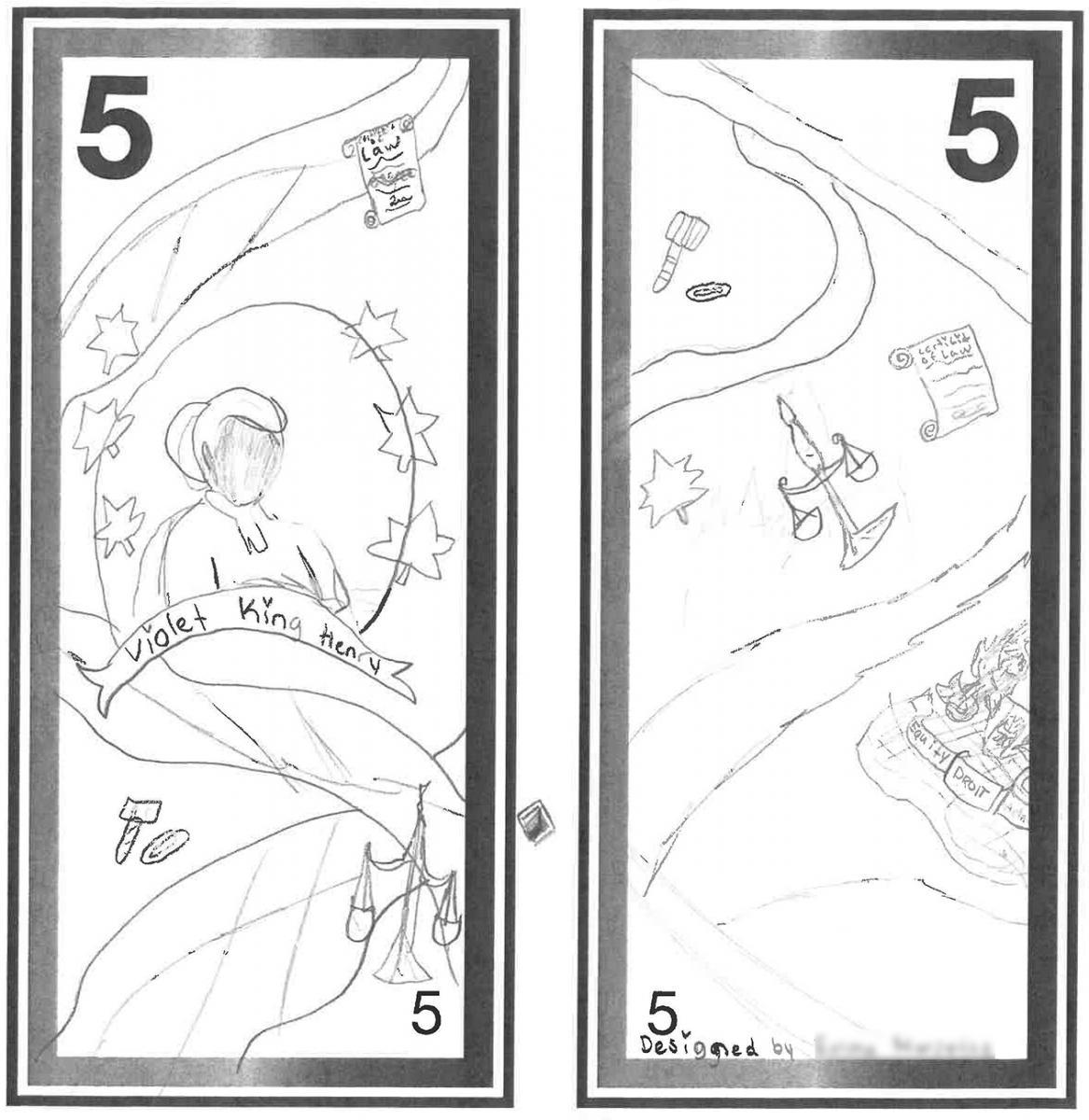 illustration, modèle de billet de 5dollars orné d'esquisses au crayon d'une femme et de symboles de la justice