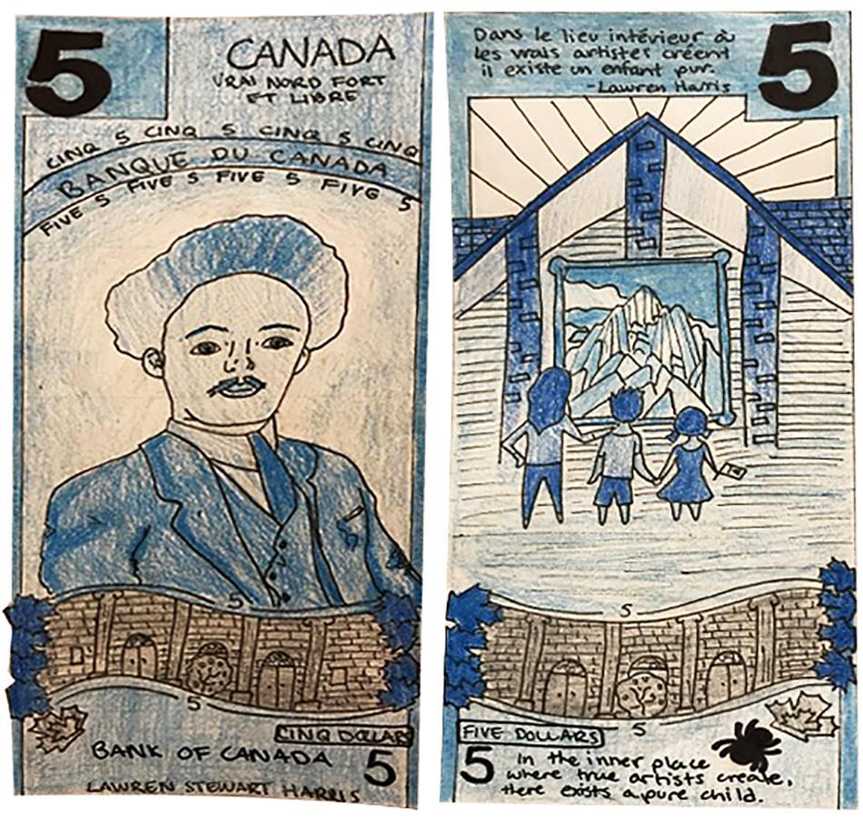 illustration, modèle de billet de 5dollars orné d'esquisses au crayon de L. S. Harris et d'une galerie d'art