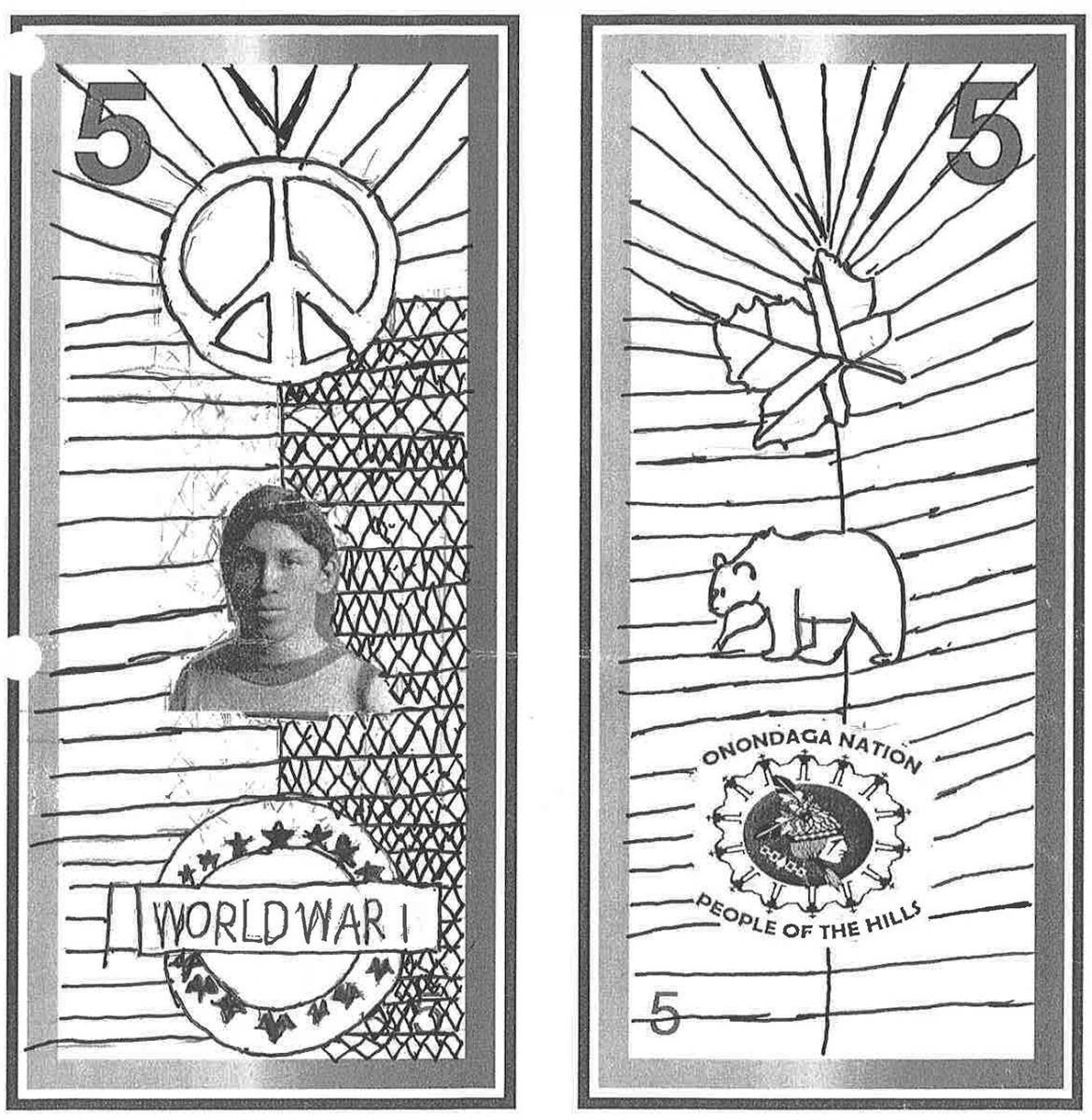illustration, modèle de billet de 5dollars orné d'une photo d'un jeune homme et d'esquisses au crayon de symboles autochtones