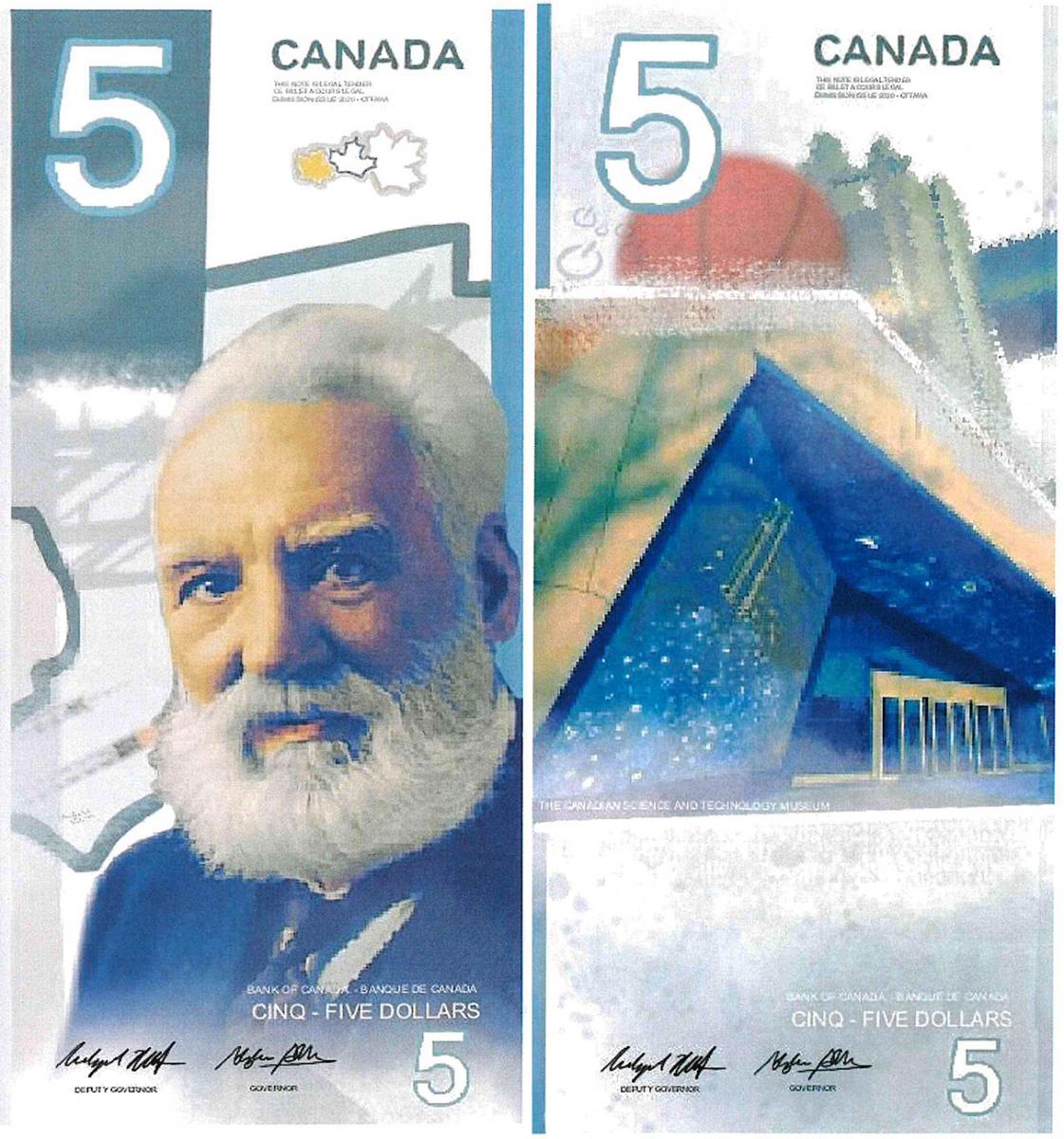 illustration, modèle de billet de 5dollars sur lequel figure l'entrée d'un musée et Alexander Graham Bell