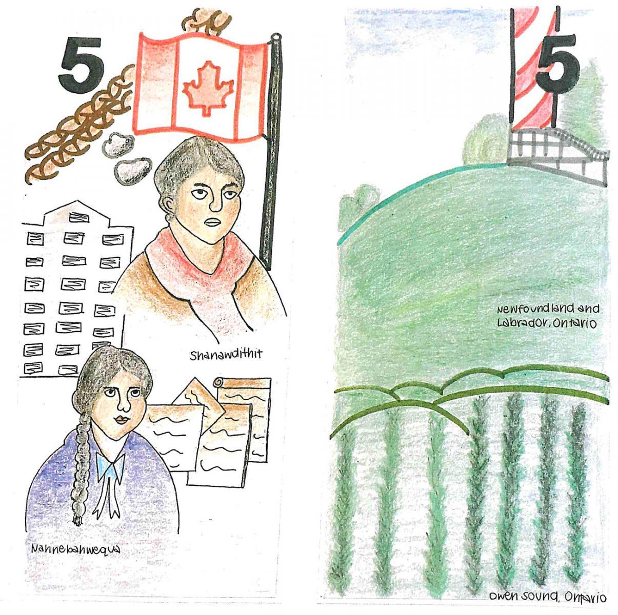 illustration, modèle de billet de 5dollars orné d'esquisses aux crayons de couleur de deux femmes et de paysages