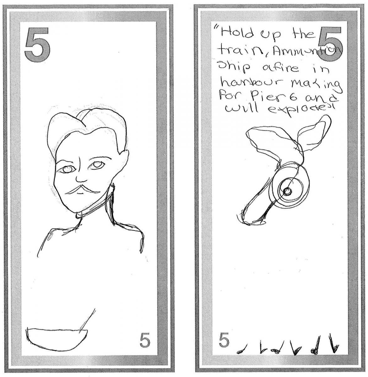 illustration, modèle de billet de 5dollars orné d'une esquisse au crayon d'un homme du tournant du 20ᵉ siècle et d'une carte du port d'Halifax dessinée à la main