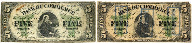 deux billets de 5 dollars à l'effigie de la reine Victoria
