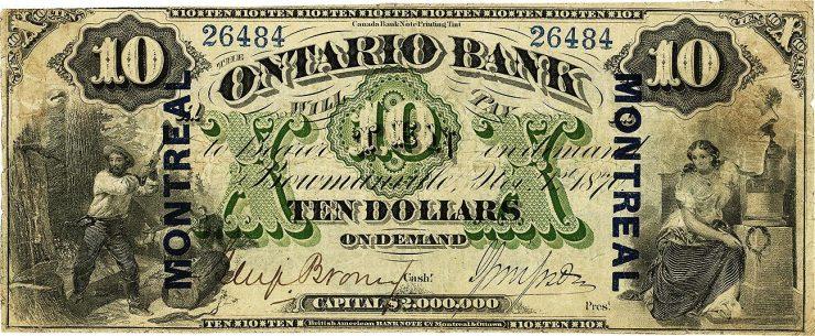 ancien billet de banque avec une image de bûcheron